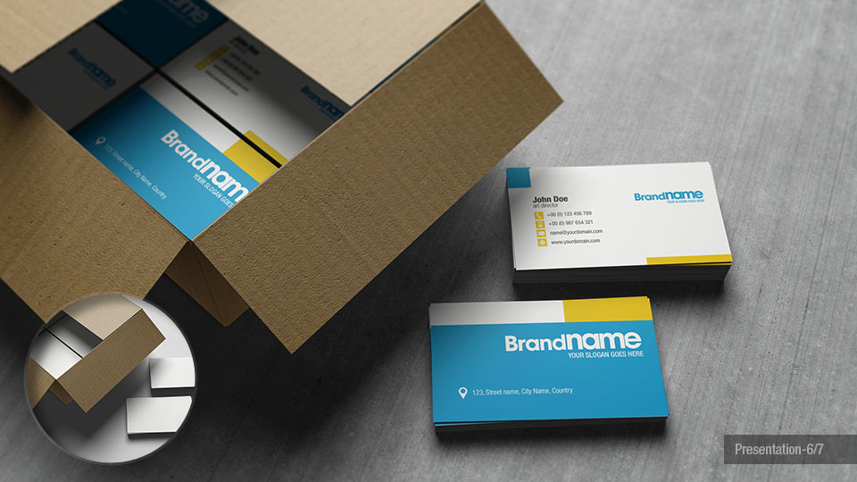 Business Cards in Cardboard Box Mock-Up